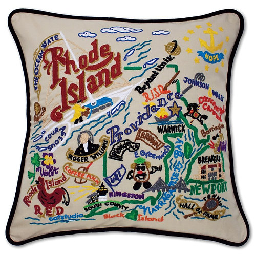Rhode Island Hand Embroidered Pillow