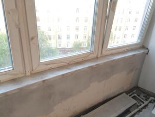Изготовление и установка подоконников из искусственного камня в квартире на ул. Маршала Бирюзова