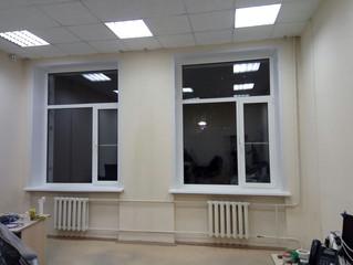 Установка окон с откосами в офисном здании на Варшавском шоссе.