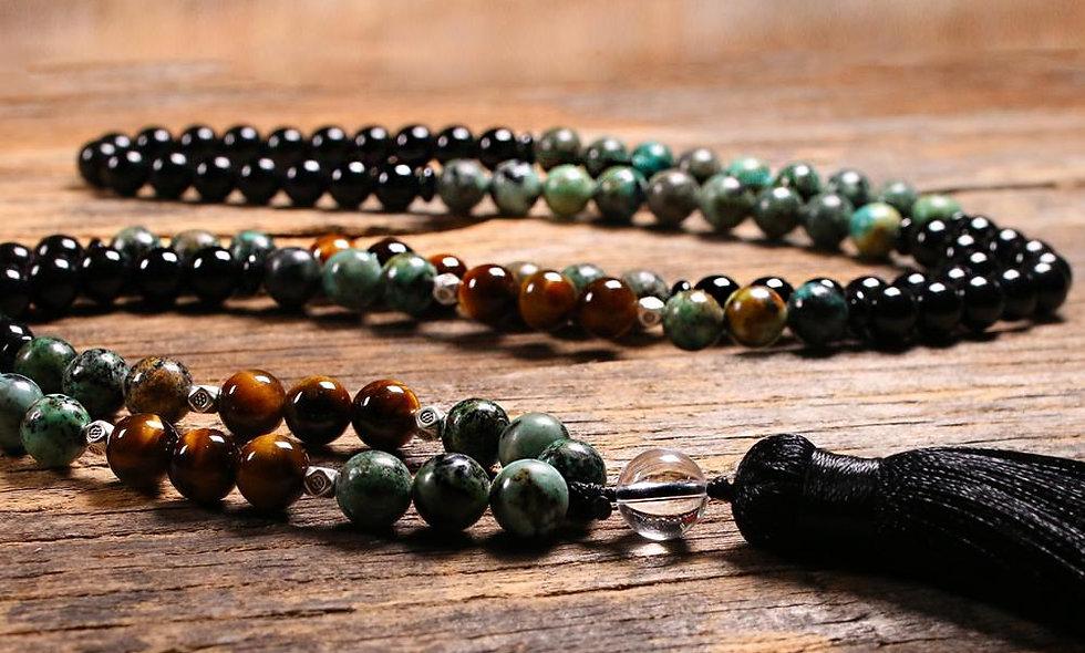 Yoga Japamala - tiger eyes stone - 108 - Tassel Long Necklace -  8MM
