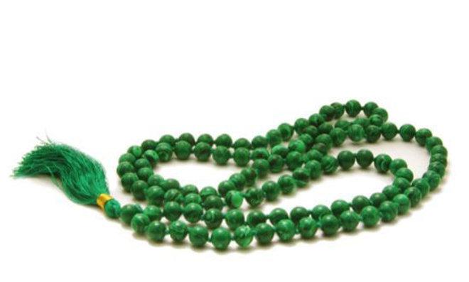Malachite Mala Beads Necklace -  Japa Mala - Japa Neklace - - 108