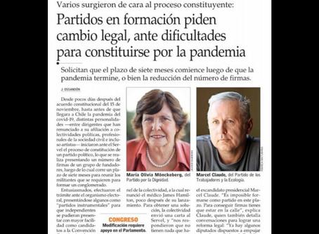 Fragmento de El Mercurio sobre partidos en formación y pandemia