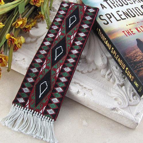 Embroidered Bookmark - White Kites