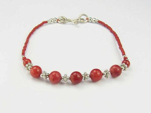 "Bita Deep Red Bead 7"" Bracelet"