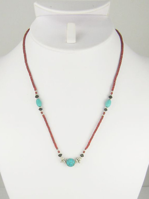 "Bita Red & Turquoise Bead 18"" Necklace"