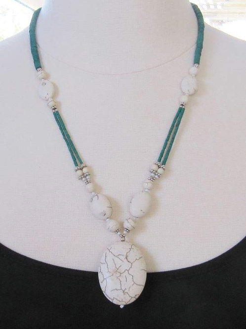 """Crackle Stone Green Strand 22"""" Necklace"""