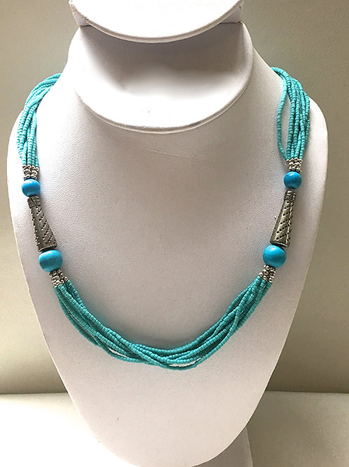 """Turquoise Multi-Strand with Dots Beads 24"""" Necklace"""
