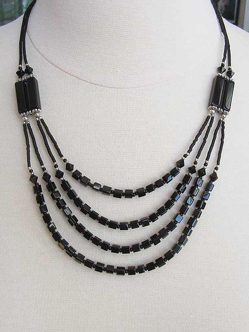 "Black Multi-Strand Bead 22"" Necklace"