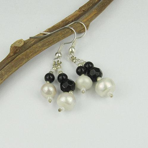 """Bita Black & Pearl Bead 2"""" Drop Earrings"""