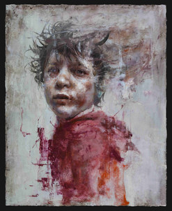 Syrian Boy in Red, Oil on canvas, 91x72.5cm, 2018