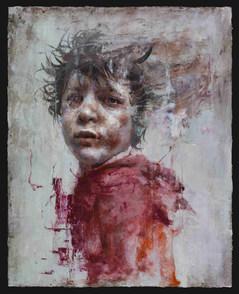 Syrian Boy in Red, Oil on canvas, 91x72.5cm, 2018