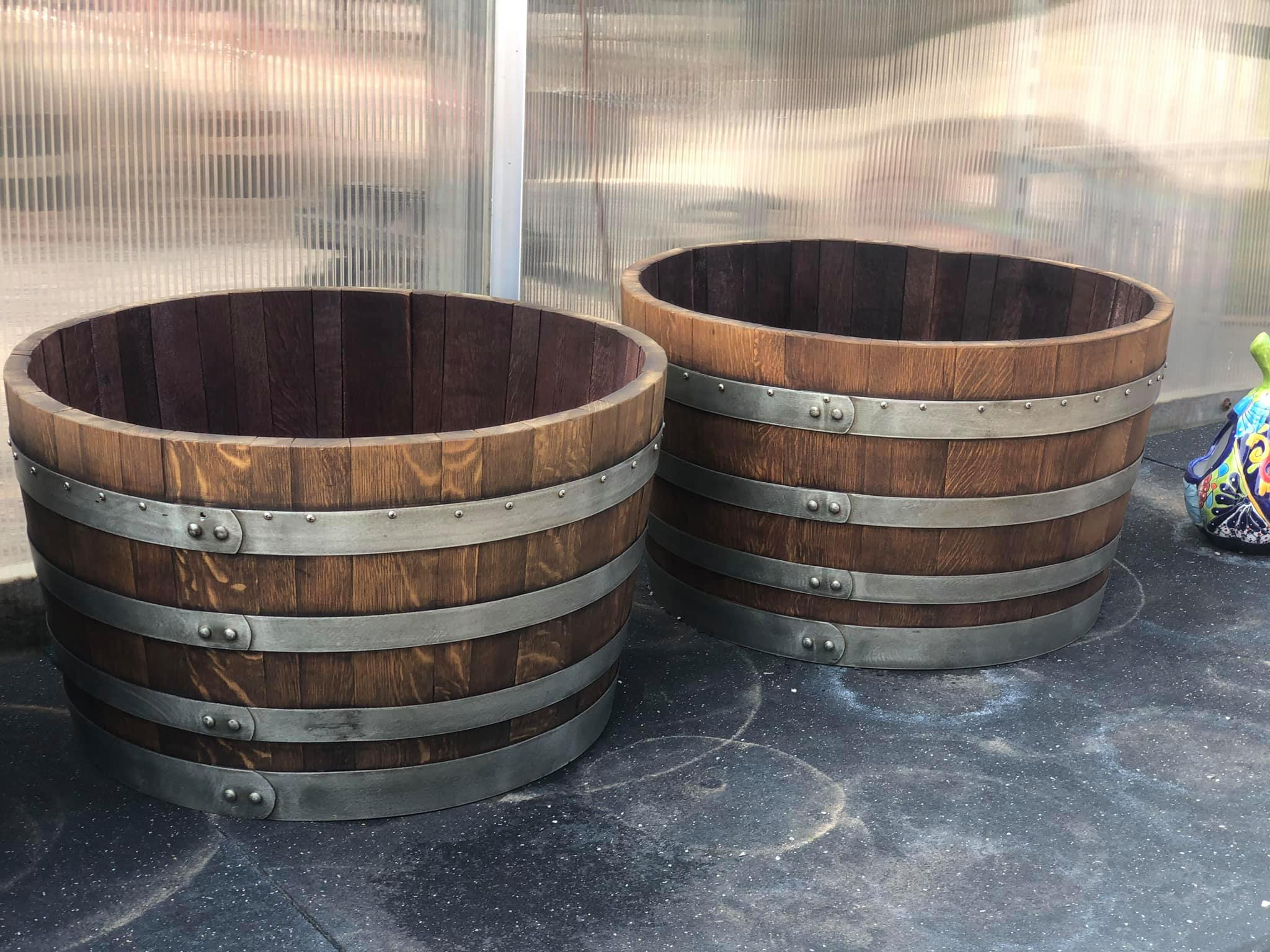 Really cool Whiskey Barrels & Whiskey Barrel planters!! Come check them out!