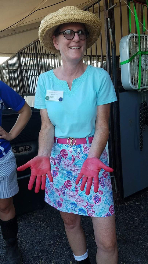 """Leanne B participated in Championships as a Quiz Barn Judge and a Horse Management Judge.  In Quiz.  Her barn stall judged the C's on what to do with a cut artery with a """"bleeding"""" leg.  With the D's they had to assemble an equine first aid kit."""