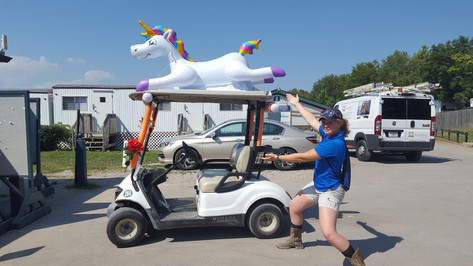 Lorna was asked to help coach the Incredibles Senior Games team from Midwest Region.  The team won 1st in HM and Overall and went on to 3rd in President's Cup  (pictured with another region's FUN golf cart)