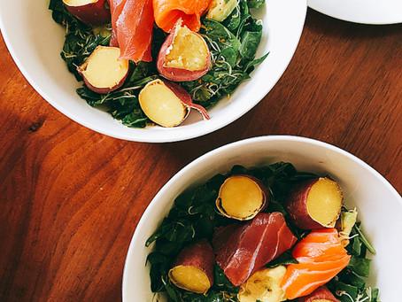 Japanese Satsuma-imo & Sashimi salad