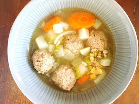 High Folate, High Iron Beef Meatball Soup