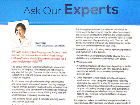 Feature: 'Ask Our Experts - Selecting a good Preschool for your child'