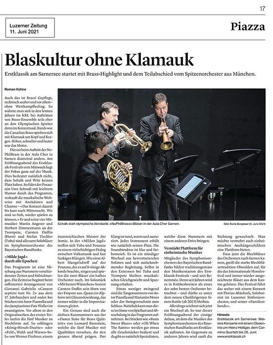 LUZ Kritik Konzert NoPhilBrass EK21 2021