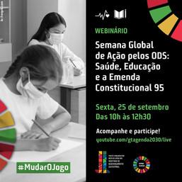 Na semana global de ação pelos ODS, parlamentares e sociedade civil discutem saúde, educação e EC 95
