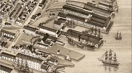 1879 Bailey map, detail, Cunard line rig