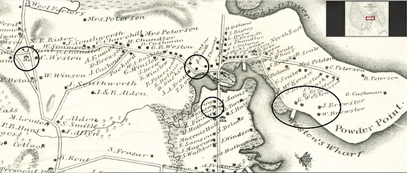 1833 Ford map of Duxbury, detail, BPL-Le