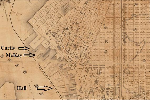 1851 map, detail showing shipyards, Curt