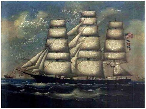 Painting of ship Paul Revere, China arti