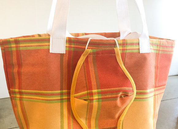 Shopping Bag oranges Karo-Muster