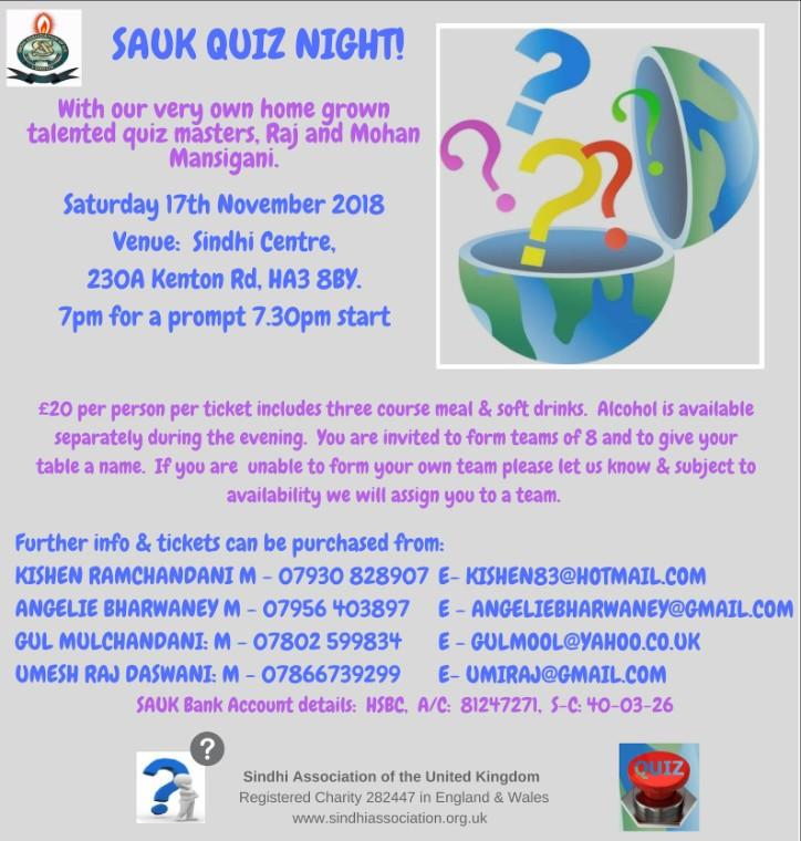 SAUK Quiz Night