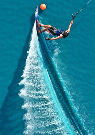 Aerial image of water skier.