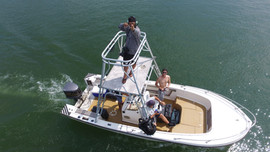Drone shot of photo crew in photo boat.