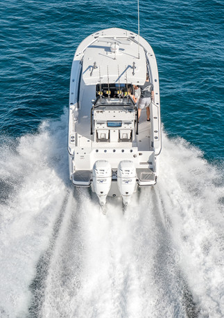 Aerial photo of Blackfin center console fishing boat