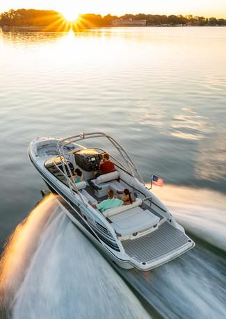 Formula boat cruises into the senset