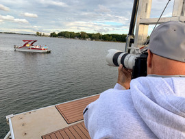 Bill Doster composing a lifestyle shot for boating magazine.