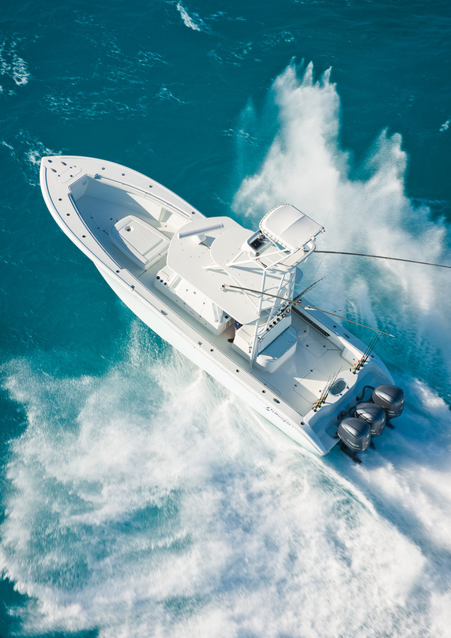 Aerial photography of 39 foot Yellowfin center console fishing boat shot for Sport  Fishing magazine cover