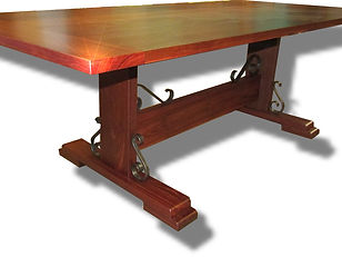 Jarrah table with Iron scroll