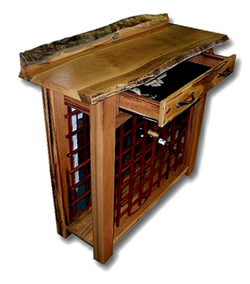 Marri Natural Edged Wine Rack Drawer Open