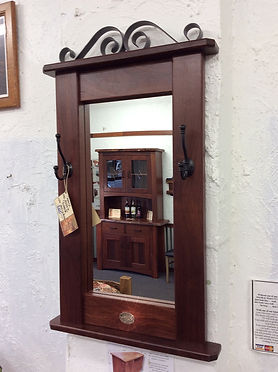 Jarrah entry mirror with coathooks