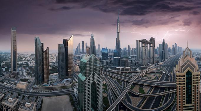 Dubai_Sheikh_Zayed_crossroad_sunset_pano