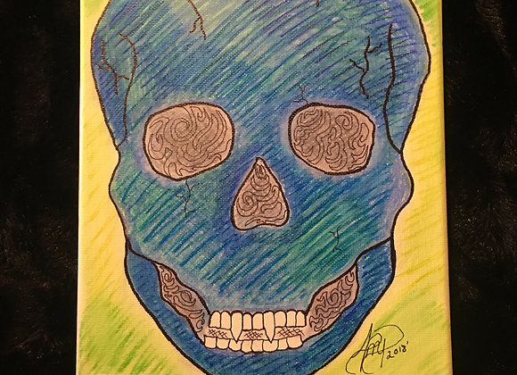"Original Skull Image Canvas 8"" X 10"""