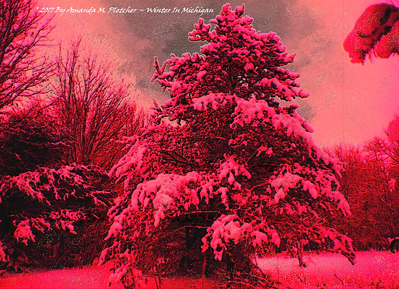 Pink Glittery Michigan Winter Art By Amanda M. Pletcher