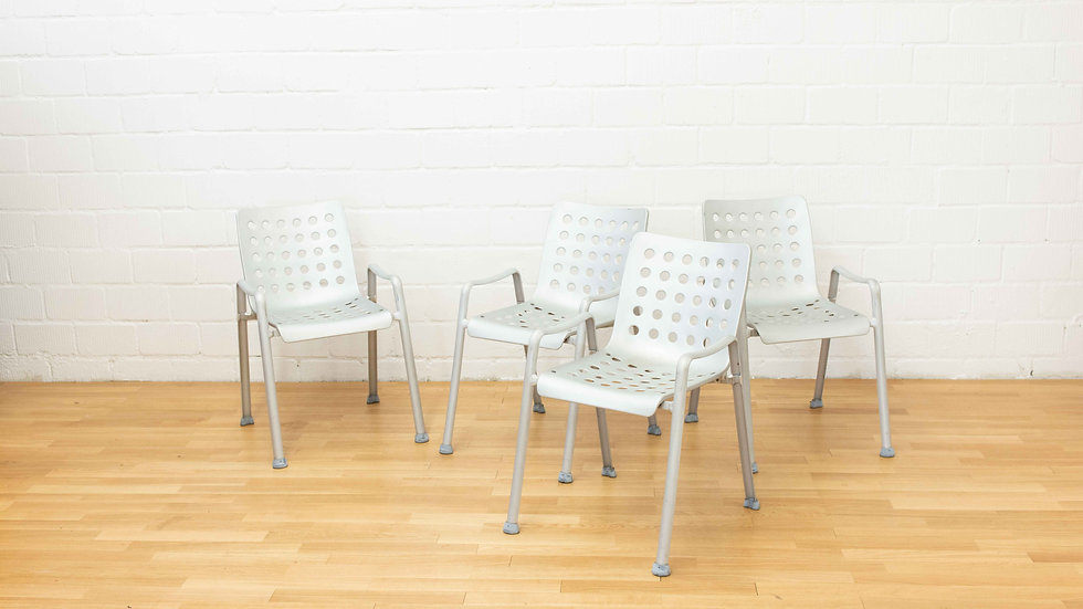 4er Set - Hans Coray Landi Stühle von Metallwarenfabrik Wädenswil