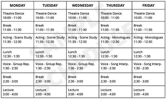 Online Classroom sample schedule for web