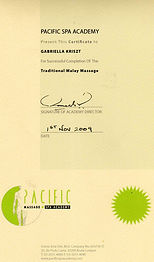 Certifications de massage traditional malay de Gabriella Kriszt