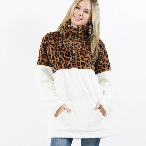 Faux Leopard/White Pullover