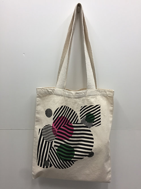 Printed canvas tote bag village shop