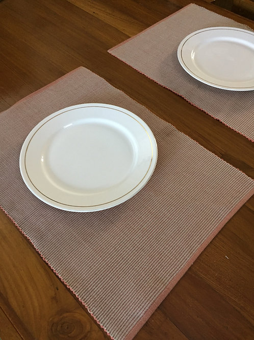 Reversible Table Mats -Brick/Beige -Set of 6