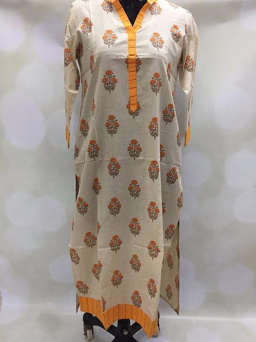 Ladies Kurta - Printed Cream Orange