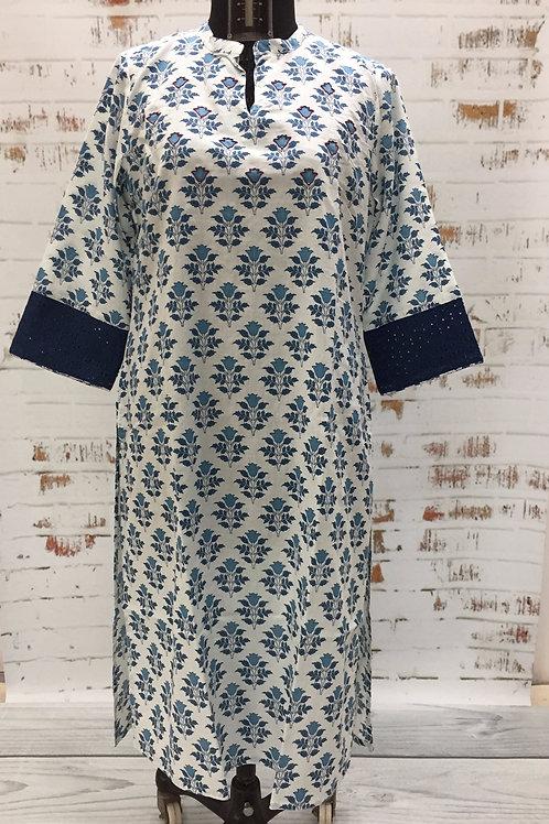 Ladies Kurta - Blue Print and Embroidery