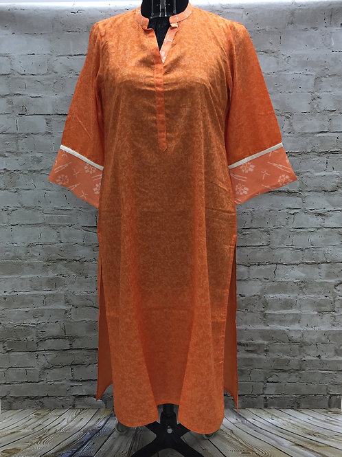 Ladies Kurta - Printed Orange